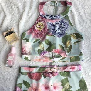 ASOS floral halter crop top and skirt dress